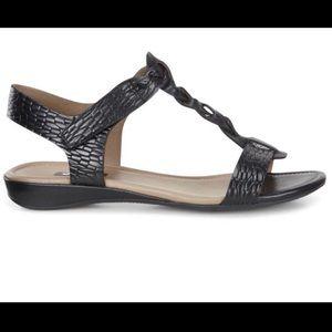 Ecco Bouillon Snakeskin T-Strap Sandal Size 38